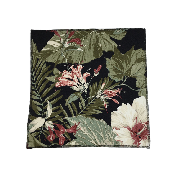Black White Hibiscus HawaiianBarkcloth Upholstery Fabric