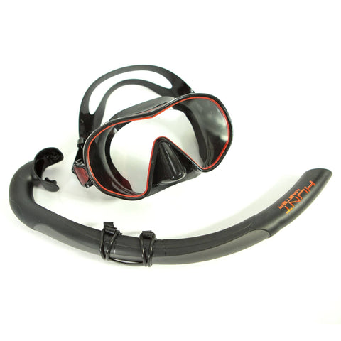 HuntMaster Scout Single Lens Diving Mask - Black and Red