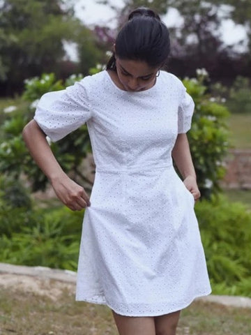Eyelte embroided dress