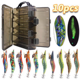 10pcs Luminous Squid Jig With Box