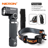 NICRON Led Flashlight 90 Degree Twist Rotary Clip 600LM
