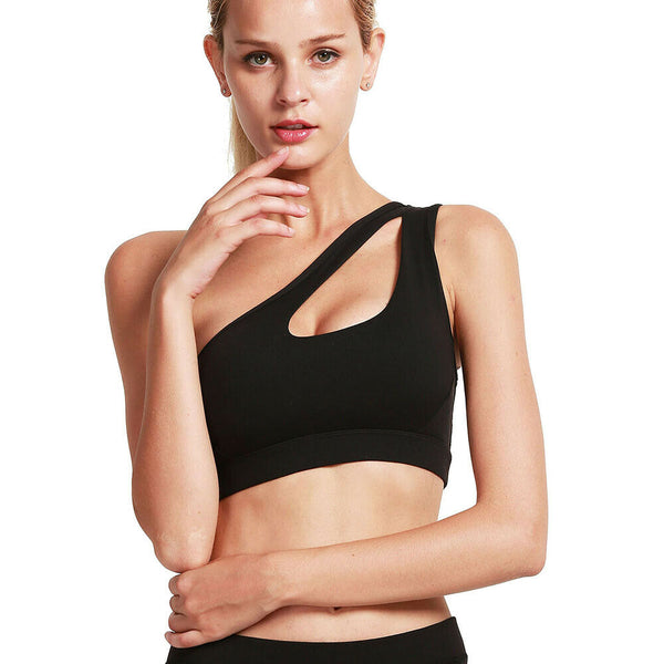 One Shoulder Solid Sport Bra