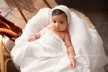 Load image into Gallery viewer, White Fringe Muslin Swaddle Wrap