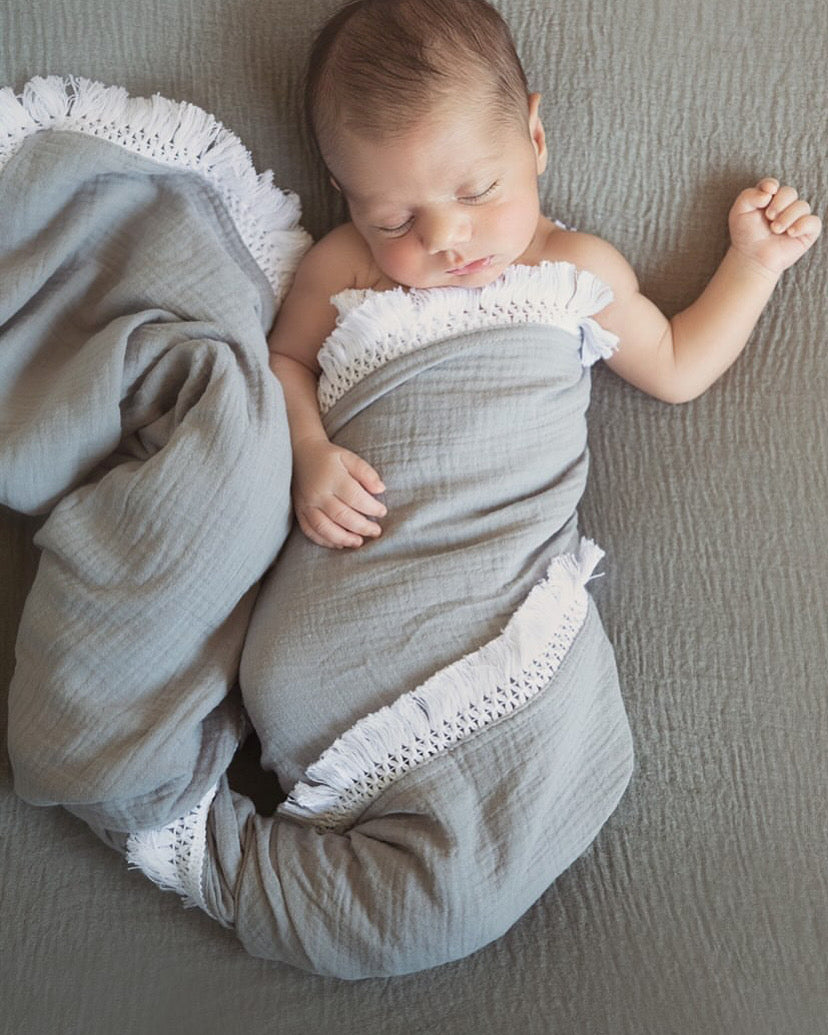 Smoke Grey Fringe Muslin Swaddle Wrap