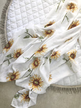 Load image into Gallery viewer, Sunflowers Bamboo Muslin Wrap