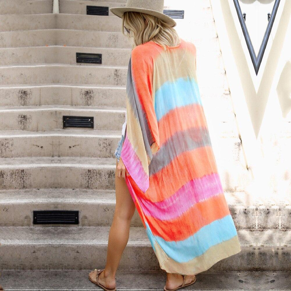 Multicolored Striped Full Sleeve Long Kimono