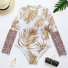 Load image into Gallery viewer, Leaf Printed Long Sleeve Swimsuit