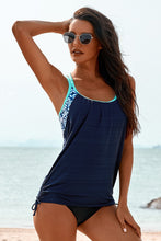 Load image into Gallery viewer, Navy Blue Printed Lined Sport Tankini Swimsuit