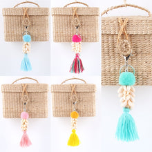 Load image into Gallery viewer, Colorful Tassel Hairball Shell Keychain