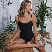 Load image into Gallery viewer, swimsuit high waist black monokini