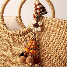 Load image into Gallery viewer, Wood Bead Pompom Keyring