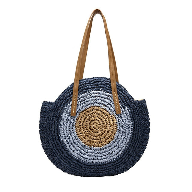 Selection of Round Straw Rattan Bag Handmade