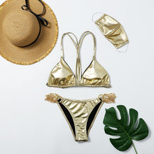 Load image into Gallery viewer, Face Mask Three-piece  Swimwear Women Split-style