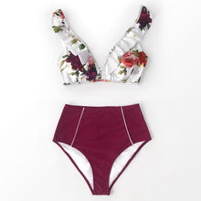 Load image into Gallery viewer, Floral Red High-waisted Bikini Sets