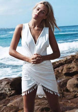 Load image into Gallery viewer, Cover Up Deep V-neck Beach Dress