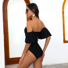 Load image into Gallery viewer, Black One Piece Swimsuit  Ruffled Off Shoulder