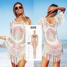 Load image into Gallery viewer, White Crochet Bikini Cover Up with Fringe Trim