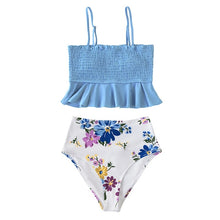 Load image into Gallery viewer, Smocked Blue t Bikini Sets
