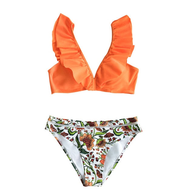 Orange Ruffle Bikini Sets With Floral Bottom