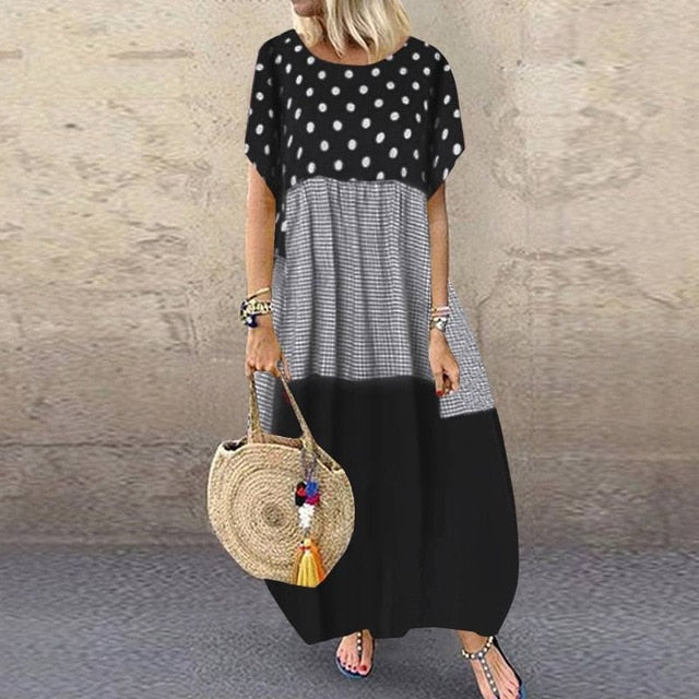 ZANZEA Bohemian Polka Dot Long Dress