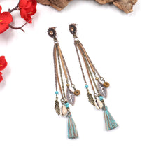 Load image into Gallery viewer, Boho Long Tassel Leather Dangle Earring