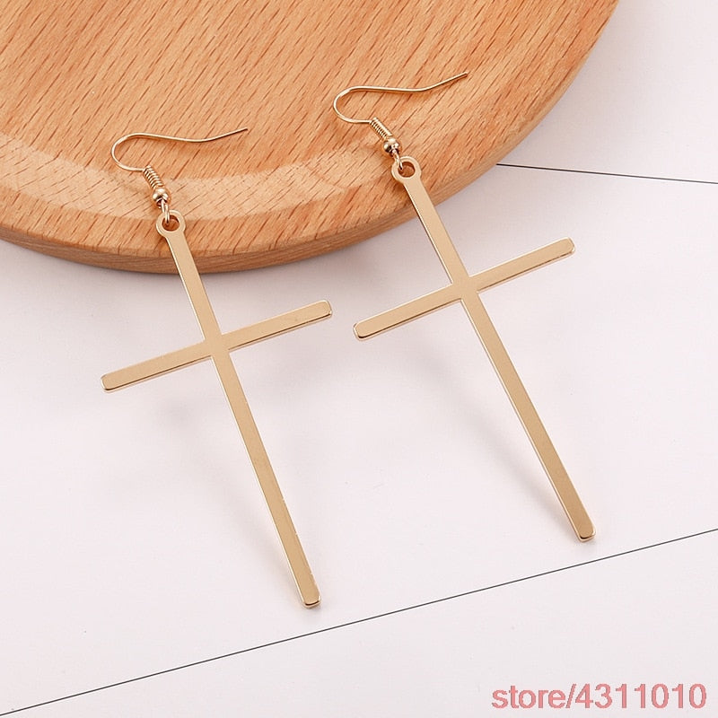 Big Long Cross drop Earrings Gold Silver