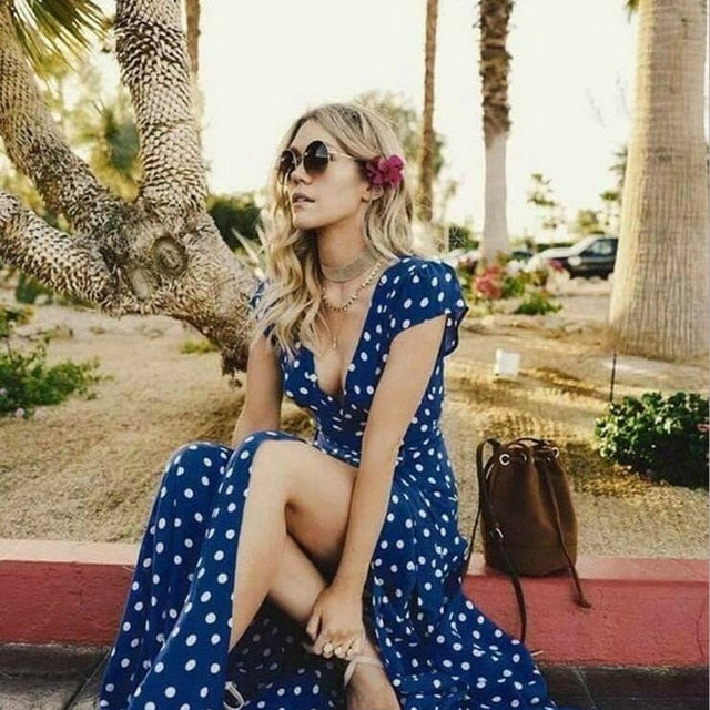 Dots Printed V Neck Dress