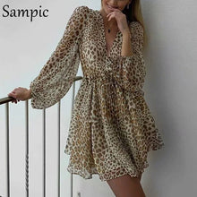 Load image into Gallery viewer, Chiffon Leopard Mini Party Dress