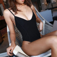 Load image into Gallery viewer, Black Mesh Thong One Piece Swimsuit