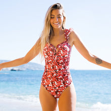 Load image into Gallery viewer, Floral Bodysuit Shirring One Piece Monokini