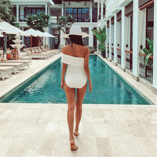 Load image into Gallery viewer, White Strapless One Piece Swimsuit