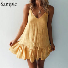 Load image into Gallery viewer, Backless Sundress Women Mini Dress