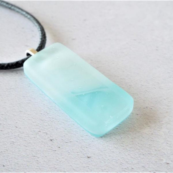 Fused Glass Streaky Aqua Necklace