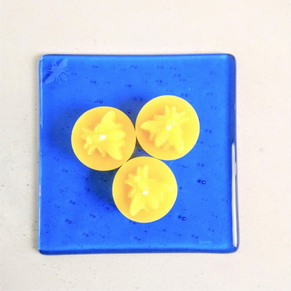 Candle Plate with Trio of Beeswax Candles