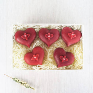 Beeswax Bee Heart Candles in Red