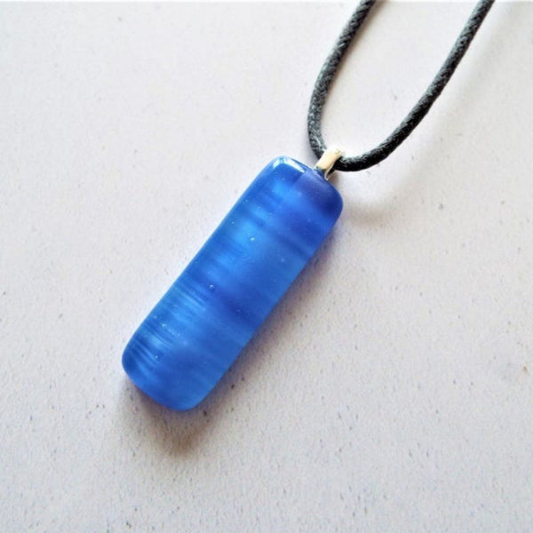 Fused Glass Streaky Light Blue Necklace