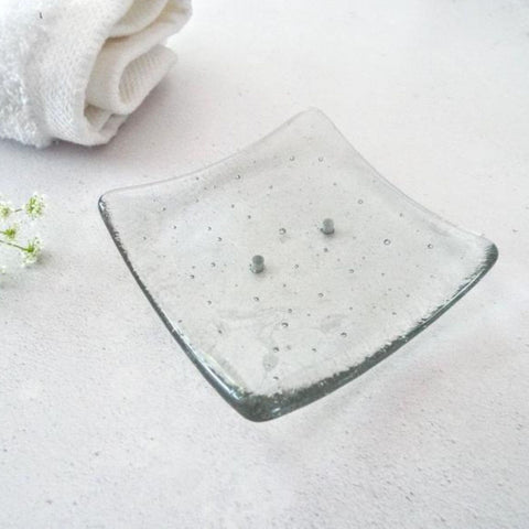 Small Fused Glass Soap Dish - Grey