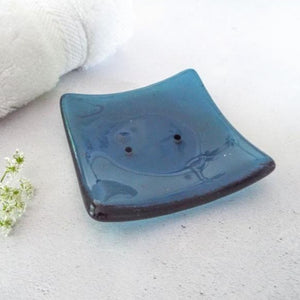 Small Fused Glass Soap Dish - Steel Blue