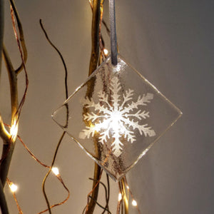 Snowflake Glass Hanging Decoration (various)