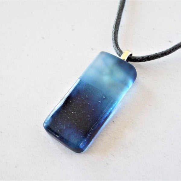 Fused Glass Streaky Blue Pendant Necklace