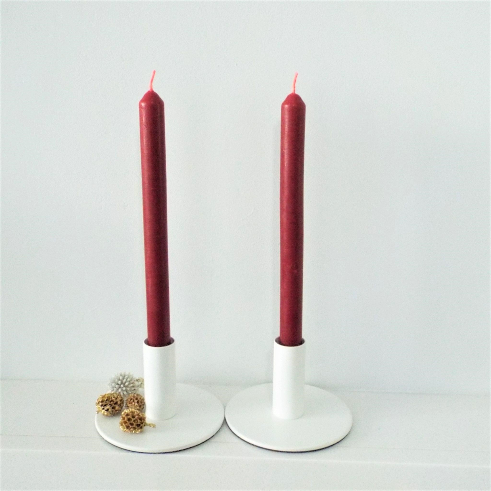 Beeswax Dinner Candles in Red