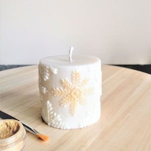 Snowflake Unscented Soy Wax Pillar Candle
