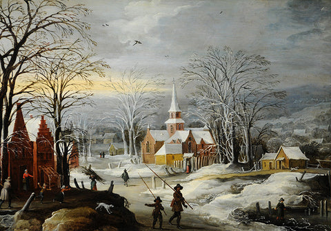 Winter Landscapes with Buildings and Figures Print
