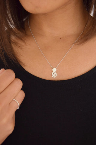 Dainty silver pineapple necklace