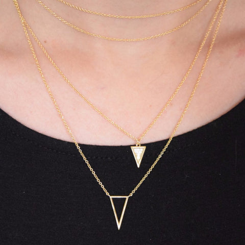 Layered triangle necklace gold