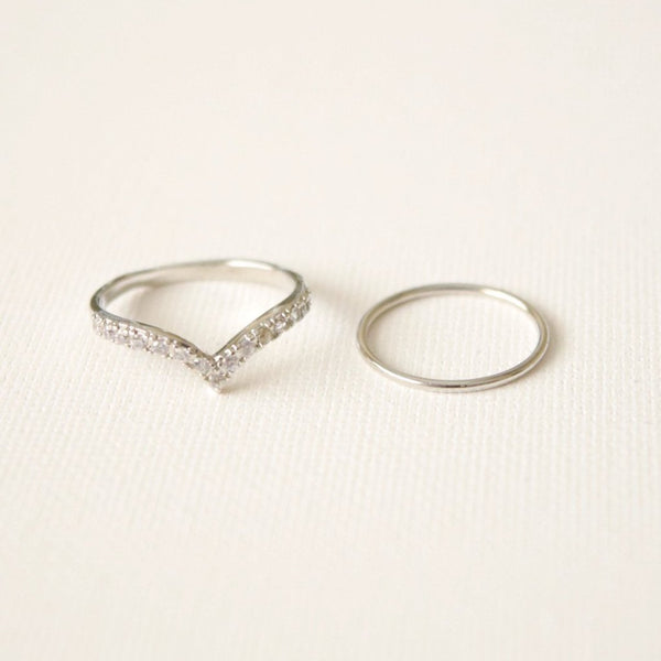 Lena Ring Set - Silver