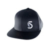 "Black flex fit flat bill hat with Sunline America logo ""S"" on front"