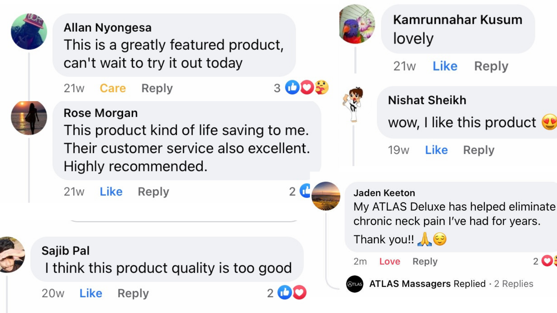 Why people love ATLAS: What real customers have to say from Facebook