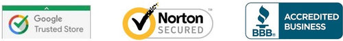 Google Trusted Store, Norton Secured, BBB Accredited Business