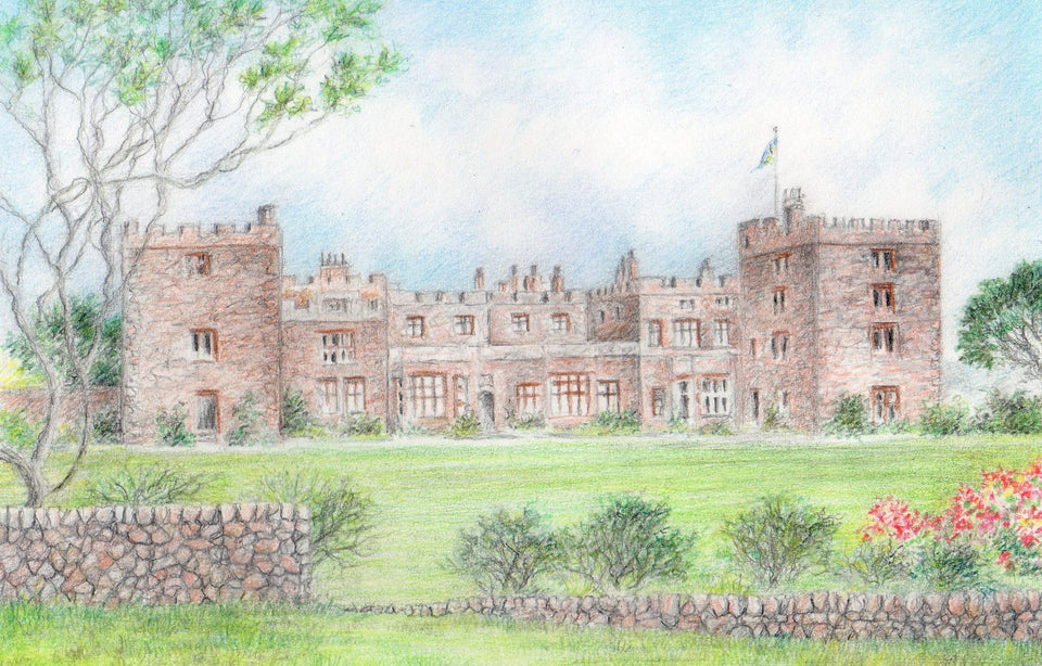 A drawing of Muncaster Castle by local artist Kathleen Burn